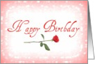 Happy Birthday, red rose & hearts card