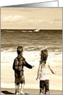 Missing my Friend, Kids on Beach card