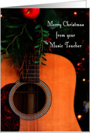 Merry Christmas from Music Teacher, Joyful Song Guitar card by Lisa Crisafi