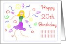 Happy 20th Birthday, Welcome to the Club! Humor, Cartoon Dancing Gal card