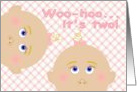 Baby Shower Congratulations for Twin Girls! card