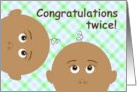Baby Shower Congratulations for African American Twins! card