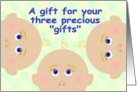 Baby Shower Gift For Triplets card