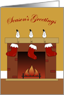 Season's Greetings, Stockings by Fireplace card
