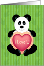 Panda Holding I Love U Heart card