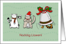 Nadolig Llawen! - Merry Christmas in Welsh with Cats and Bells card