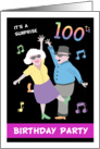 Surprise 100th Birthday Party Invitation - Two old people dancing card
