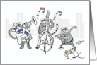 Three cats in concert - Thank you to music teacher card