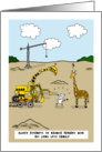 Giraffe meets family - Blank note card with giraffe and cat card