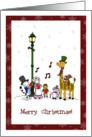 Christmas animals carolling - Merry Christmas to friend and family! card