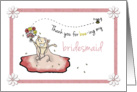 Thank you for being Bridesmaid Step Sister - Cute cat in dress card