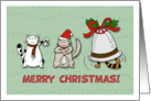 Merry Christmas for Mentor & Family - Cute cats play music with bells card
