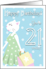 Happy Birthday 21 Year Old - Girl cat goes shopping card