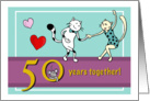 Happy 50th Wedding Anniversary - Two cats dancing card