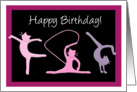 Happy Birthday for girl - Female gymnast cats perform gymnastics card