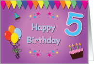 Happy 5th Birthday Colorful card