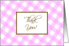 Thank you Pink Plaid card