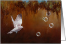 Release, a doven with bubbles painting by Adam Thomas card
