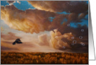 Featherlight, blackbird, clouds and field painting by Adam Thomas card