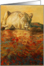 Zambezi, a lion with abstract water painting by Adam Thomas card