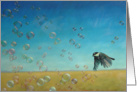 Flying Into Happiness. Bird with bubbles painting by Adam Thomas card