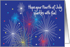 Fourth of July Greetings with colorful fireworks card