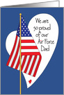 Father's Day for Air Force Dad, American Flag and Heart card