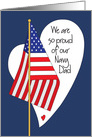 Father's Day for Navy Dad, American Flag and Heart card