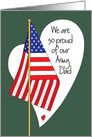Father's Day for Army Dad, American Flag and Heart card