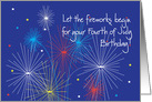 Birthday on Fourth of July with Fireworks and Stars card