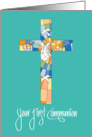 First Communion Congratulations, Stained Glass Cross card