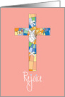 Rejoice at Easter, with Stained Glass Cross card