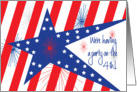 Business Invitation for Fourth of July, Stars and Stripes with Fireworks card