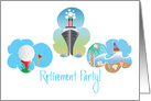 Business Retirement Party Invitation, Cruiser, Golf and Sailboat card