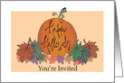 Business Halloween Party Invitation with Bubbling Cauldron card