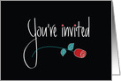Invitation for Black Tie Event, White Handlettering on Black with Red Rose card