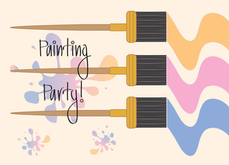 Invitation to Painting Party, Paintbrushes and Paint Spatter Greeting Card
