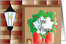 Invitation to Christmas Open House, Porch Light and Wreath card