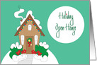 Invitation to Christmas Open House, Snow Covered Cottage and Wreath card
