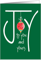 Christmas Joy to You and Yours with Ornament card