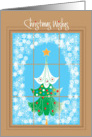 Christmas Wishes, Snowflake Window and Decorated Tree card