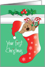 First Christmas for Child, Bear in Santa Hat in Stocking card