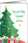Christmas Holiday Decorated with Love, Tree, Ornaments and Gifts card