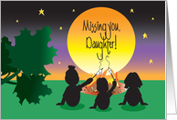 Missing You Daughter at Camp, Campers at Sunset Campfire card