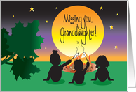 Missing You Granddaughter at Camp, Campers at Campfire card