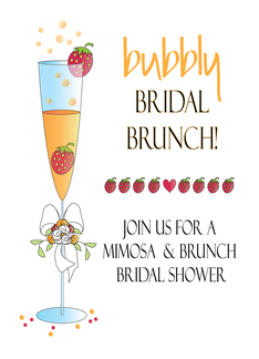 Bridal Shower Invitation, Mimosa & Bridal Brunch with Strawberries Greeting Card
