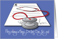 Doctors' Day with Clipboard, Thank you for Your Gift of Healing card