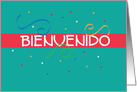 Bienvenido Welcome Card in Spanish, Teal and Red with Confetti card