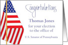 Election Congratulations, Personalized Name & Office & U.S. Flag card