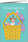 Easter Basket with Dog in Bunny Ears, Easter Basket of Love card